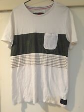 Mambo Mens White T Shirt Striped Size S Good Condition