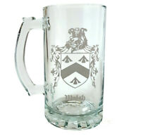 Custom Family Crest Glass Stein 16oz, Etched Coat of Arms Beer Mug