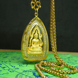 Buddha Chinaraj Pendant Necklace gold color Amulet Brass Jewelry Religious