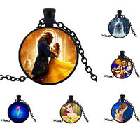 BEAUTY AND THE BEAST CABOCHON GLASS PENDANT ROSE FLOWER NECKLACE CHAIN JEWELRY