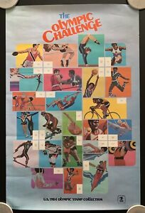 Vintage 1984 The Olympic Challenge USPS Stamp Collection Poster