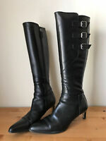 RALPH LAUREN Collection black leather buckles pointy tall boots sz 7/ 37