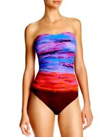 Gottex Size 8 Horizon Bandeau Ruched One Piece Maillot Swimsuit Ombre NWT $178
