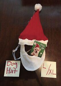 Time For Joy Christmas Dog SANTA Knit Hat Beard Large / XL *BENEFITS Pet RESCUE!