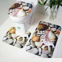 Bathroom Non-Slip Blue Ocean Style Pedestal Rug + Lid Toilet Cover + Bath Mat