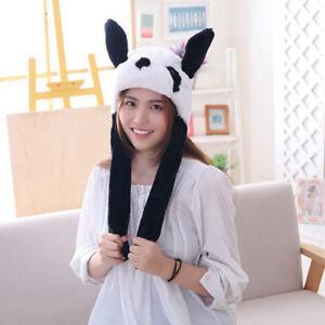 Panda Hat Ear Moving Jumping Hat Funny Plush Warm Hat Cap for Womens Girls