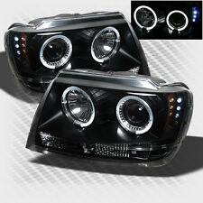 For 1999-2004 Jeep Grand Cherokee Halo LED Projector Headlights Blk Head Lights