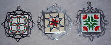 Lunt Sterling American Quilt Society Enamel Christmas Ornament Complete Set 3