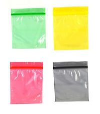 GRIP COLOURED SEALED BAGS 5CM X 5CM BUTTON RESEALABLE WEED BAGGY TOBACCO 50X50MM