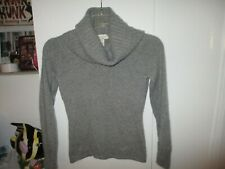 MAINBOCHER PURE CASHMERE GRAY WIDER TURTLENECK SWEATER SIZE S
