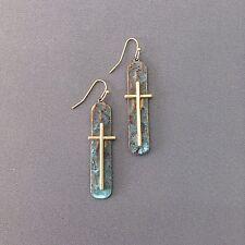 Hammer Patina Finished Oval Shape Gold Cross Design Drop Dangle Hook Earrings