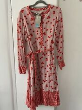 BNWT Boden UK16 Flower Print Midi Dress Fully Lined Red And Pink Print