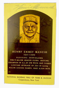 Heinie Manush Signed Hall of Fame Postcard Yellow HOF Plaque Detroit Tigers MLB