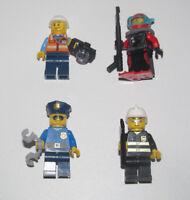 Lego ® Lot x4 Minifig Figurine City Policer + Plongeur + Journaliste + Pompier