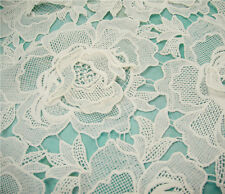 "STUNNING 3d Guipure Big Rose Lace Fabric 47"" Wide for Bridal Dress 0.5 Yard"