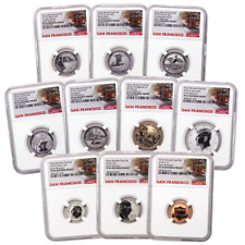 2018-S U.S. Silver Reverse Proof Set 10pc. NGC PF69 ER Trolley Label