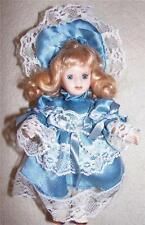 "10"" porcelain blonde doll Victorian satin dress moveable head limbs blue eyes"