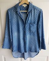 Cloth & Stone Womens Blue Diamond Dot Chambray Button Down Shirt Top Size XS