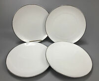 "Set 4 Crown Jewel Silver Moon Platinum Dinner Plates Bavaria Germany 10.25"" AA"