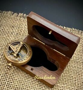 Brass Sundial Compass - Pocket Sundial -Brass polished Ross London with GIFT BOX