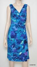 Nwt $134 Ralph Lauren V-neck Watercolor Matte Jersey Faux Wrap Dress Peacock 6