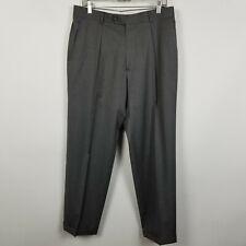 Hugo Boss Mens Pleated Cuffed Med Gray Dress Pants Size 32x31