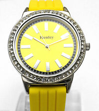 Ladies Yellow BIG DIAL Sparkly Crystal Watch with Silicone Strap By Henley BOXED