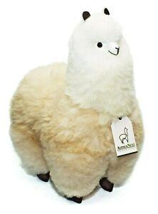 Beige and White Alpaca Fur Toy (18 Inch). Handmade on Genuine Baby Alpaca Wool.