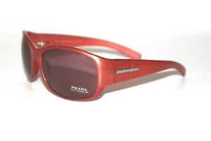 New Prada Sunglasses SPR12F 3BU-2V1 in Coral with Rose Lenses Rare Chic