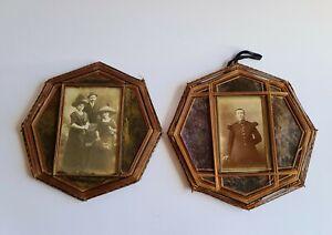 2 anciens Cadres photos en Carton / Tissu / Fil tissés et Verre vers 1900 / 1920