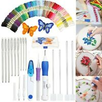 DIY Embroidery Knitting Sewing Tool Magic Pen Kit Punch Needle w/ 50 Threads Kit