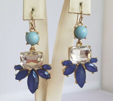 Cute Fashion Blue Turquoise Clear Rhinestone Dangle Earrings Floral Statement