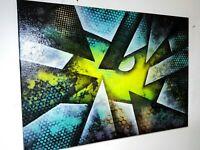 Peinture huile sur toile abstraite format 50/70 cm Série Geometric