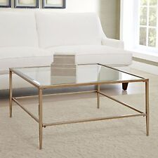 Coffee Table Glass Top Square Gold Finished Metal Living Room Furniture New
