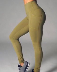 BUFF BUNNY Olive Green Luna Leggings High Rise Pockets Ankle Length Athletic XS