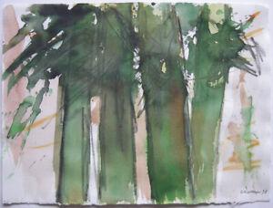 Oskar Koller (1925-2004) Bäume Orig Aquarell signiert 1998
