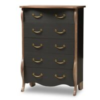 5 Drawer Black and Oak Finished Wood Dresser Chest Country Cottage Farmhouse