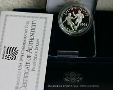 1994 World Cup Proof Silver Dollar US Mint Soccer Commemorative Coin Box and COA