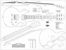 Gibson Les Paul Double cutaway GUITAR PLANS  - Full scale  FREE SHIPPING