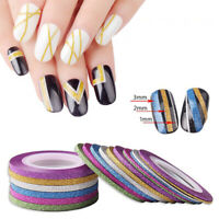 BE_ KM_ 6Pcs Mixed Colors Rolls Striping Tape Line DIY Nail Art Tips Decor Stick