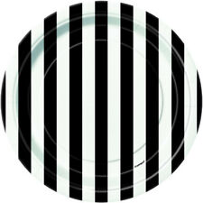BLACK and WHITE STRIPES SMALL PAPER PLATES (8) ~ Birthday Party Supplies Dessert