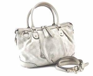 Auth GUCCI Sukey Guccissima 2Way Shoulder Tote Bag GG Leather 247902 White E2403