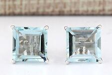6.93 Carat Natural Aquamarine 14K White Gold Earrings