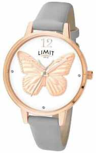 Limit Secret Garden Butterfly Gold Plated Grey Strap Wrist Watch 6284.73