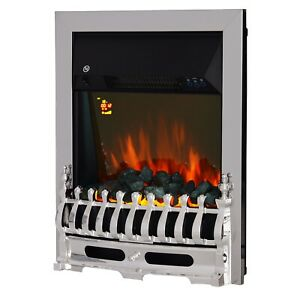 LED Flame Electric Fire Place-Silver