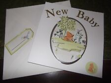 HANDMADE NEW BABY CARD WITH GIFT TAG ( H )