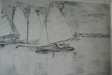 Old Etching, Sailing Boats. Signed H Rose
