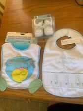 Baby boy set bibs/shoes 0-3 months, Thank Heaven for little boys & teething bibs