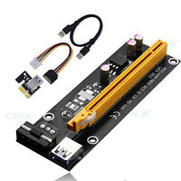 USB 3.0 PCI-E Express 1x To 16x Extender Riser Card Adapter Power BTC Cable