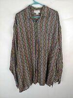 Bogari men's shirt size XL100% silk short sleeve multi color pattern